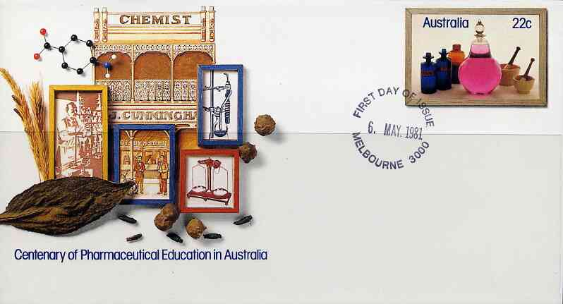 Australia 1981 Centenary of Pharmaceutical Education 22c postal stationery envelope with first day cancellation