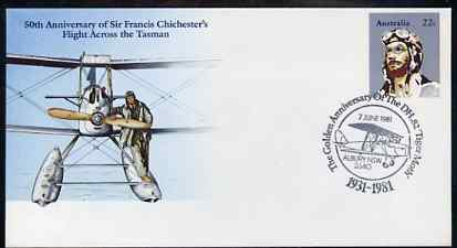 Australia 1981 50th Anniversary of Sir Francis Chichester's Flight Across the Tasman 22c postal stationery envelope with special illustrated DH Tiger Moth Anniversary cancellation