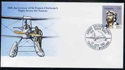 Australia 1981 50th Anniversary of Sir Francis Chichester's Flight Across the Tasman 22c postal stationery envelope with special illustrated Toulouse-Melbourne Airbus Flight cancellation