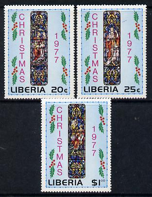 Liberia 1977 Christmas (Stained Glass Windows) set of 3 unmounted mint SG 1324-26