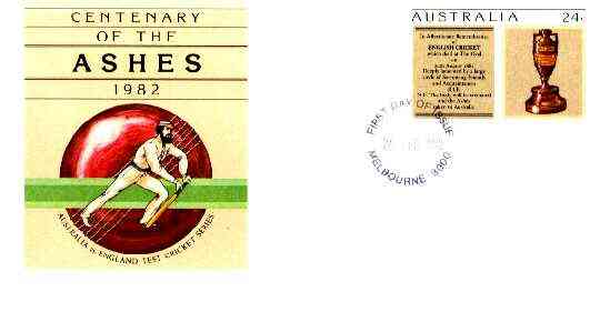 Australia 1982 Centenary of the Ashes 24c postal stationery envelope with first day cancellation