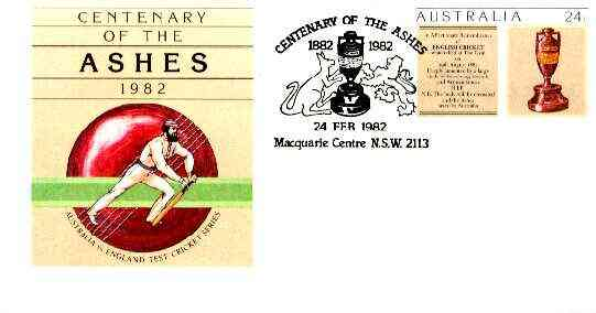 Australia 1982 Centenary of the Ashes 24c postal stationery envelope with special illustrated first day cancellation