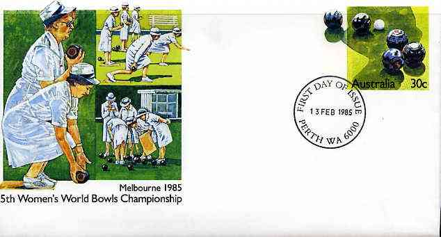 Australia 1985 5th women's World Bowls Championships 30c postal stationery envelope with first day cancellation
