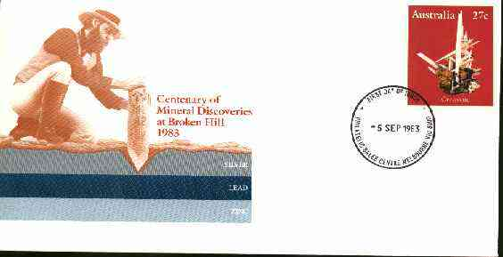 Australia 1983 Centenary of Mineral Discoveries 27c postal stationery envelope with first day cancellation