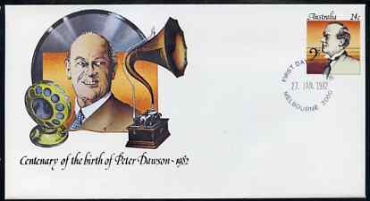 Australia 1982 Centenary of Birth of Peter Dawson (Baritone) 24c postal stationery envelope with first day cancellation