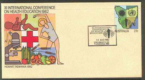 Australia 1982 International Conference on Health Education 27c postal stationery envelope with special illustrated Conference first day cancellation