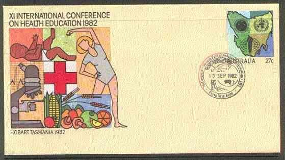 Australia 1982 International Conference on Health Education 27c postal stationery envelope with special illustrated