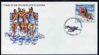 Australia 1981 Surf Life Saving Clubs Anniversary 22c postal stationery envelope with special illustrated 'Scarborough' first day cancellation