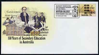 Australia 1982 150 years of Secondary Education 24c postal stationery envelope with special illustrated 'Scotch College' first day cancellation