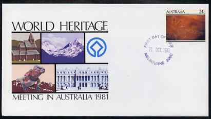 Australia 1981 World Heritage Meeting 24c postal stationery envelope with first day cancellation