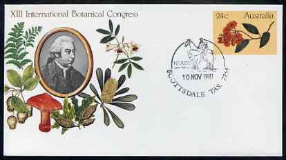 Australia 1981 International Botanical Congress 24c postal stationery envelope with special illustrated Scottsdale first day cancellation