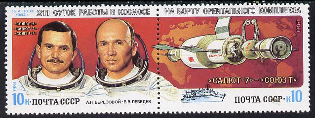 Russia 1983 Berezovoi & Lebedev 211 Days in Space set of 2  unmounted mint, SG 5320-21, Mi 5267-68