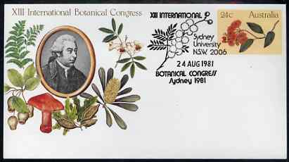 Australia 1981 International Botanical Congress 24c postal stationery envelope with special illustrated Sydney Congress first day cancellation, stamps on flowers, stamps on fungi