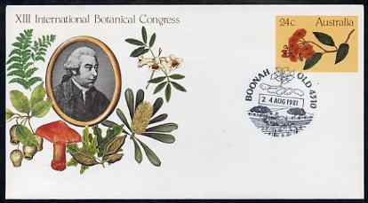 Australia 1981 International Botanical Congress 24c postal stationery envelope with special illustrated Boonah 'Tractor' first day cancellation