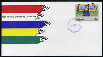 Australia 1981 100th Running of the Stawell Easter Gift 22c postal stationery envelope with first day cancellation