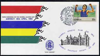 Australia 1981 100th Running of the Stawell Easter Gift 22c postal stationery envelope with special illustrated 'Stawell' first day cancellation & Philatelic Society Cachet