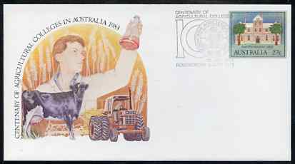 Australia 1983 Centenary of Agricultural Colleges 27c postal stationery envelope with special illustrated first day cancellation