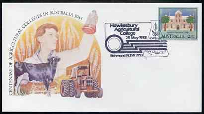 Australia 1983 Centenary of Agricultural Colleges 27c postal stationery envelope with special illustrated 'Hawkesbury' first day cancellation