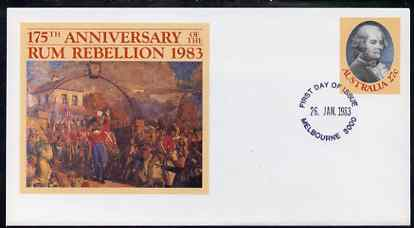 Australia 1983 175th Anniversary of the Rum Rebellion 27c postal stationery envelope with first day cancellation