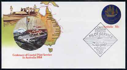 Australia 1984 Centenary of Coastal Pilot Service 30c postal stationery envelope with special illustrated first day cancellation