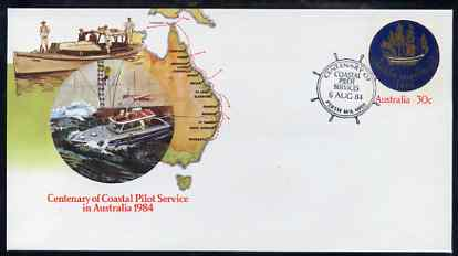 Australia 1984 Centenary of Coastal Pilot Service 30c postal stationery envelope with special illustrated 'Helm' first day cancellation