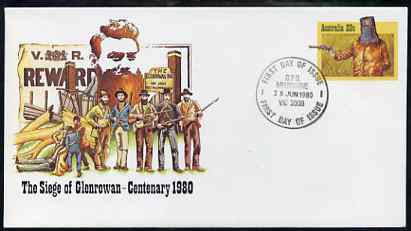 Australia 1980 Centenary of the Seige of Glenrowan 22c postal stationery envelope with first day cancellation