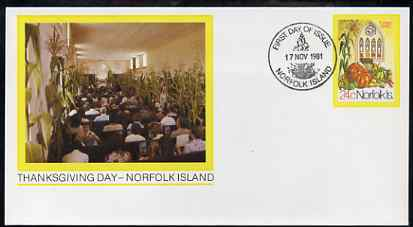 Norfolk Island 1981 Thanksgiving Day 24c postal stationery envelope with illustrated first day cancellation