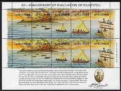 Tonga - Niuafo'ou 1996 50th Anniversary of Evacuation of Niuafo'ou, perf sheetlet containing 10 values each opt'd SPECIMEN unmounted mint, as SG 252a