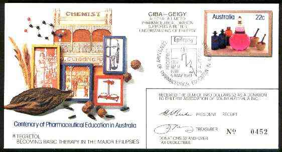 Australia 1981 Centenary of Pharmaceutical Education 22c postal stationery envelope with special illustrated Epilepsy cancellation with cachet used as donation receipt, stamps on medical, stamps on drugs, stamps on diseases