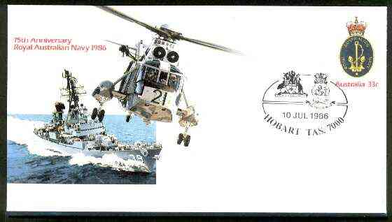 Australia 1986 Royal Australian Navy 75th Anniversary 33c postal stationery envelope with illustrated Hobart first day cancel