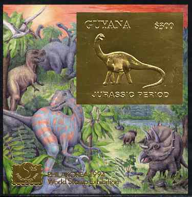 Guyana 1994 Jurassic Period #1 $300 gold foil on card m/sheet (plain edges) with Philakorea 94 logo & imprint from a limited numbered edition