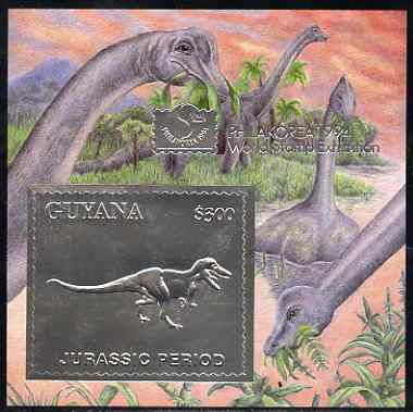 Guyana 1994 Jurassic Period #2 $300 silver foil on card m/sheet (saw-tooth edges) with Philakorea 94 logo & imprint from a limited numbered edition