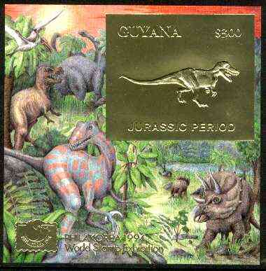 Guyana 1994 Jurassic Period #2 $300 gold foil on card m/sheet (plain edges) with Philakorea 94 logo & imprint from a limited numbered edition
