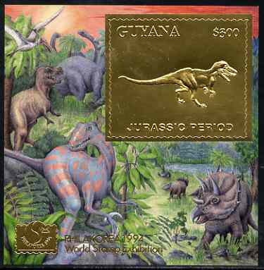 Guyana 1994 Jurassic Period #2 $300 gold foil on card m/sheet (saw-tooth edges) with Philakorea 94 logo & imprint from a limited numbered edition