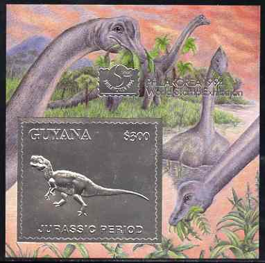 Guyana 1994 Jurassic Period #3 $300 silver foil on card m/sheet (saw-tooth edges) with Philakorea 94 logo & imprint from a limited numbered edition