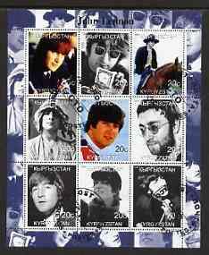 Kyrgyzstan 2000 John Lennon perf sheetlet containing 9 values fine cto used