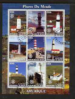 Benin 2003 Lighthouses of America perf sheetlet containing 9 values each with Rotary Logo fine cto used