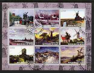 Benin 2003 Paintings of Windmills #02 perf sheetlet containing 9 values fine cto used