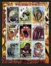 Benin 2003 Wild Animals perf sheetlet containing 9 values each with Scout Logo fine cto used