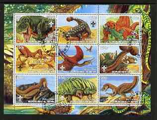 Benin 2003 Dinosaurs #06 perf sheetlet containing 9 values each with Scout Logo fine cto used