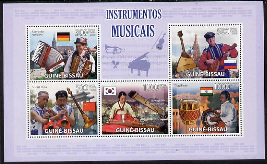 Guinea - Bissau 2009 Musical Instruments perf sheetlet containing 5 values unmounted mint