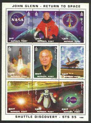 Mongolia 1998 John Glenn Return To Space #01 perf sheetlet containing set of 9 values unmounted mint
