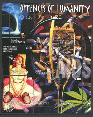Island of Offences 2000 Offences of Humanity (Smoking, Drugs, Alcohol, Aids) perf sheetlet containing set of 9 values unmounted mint