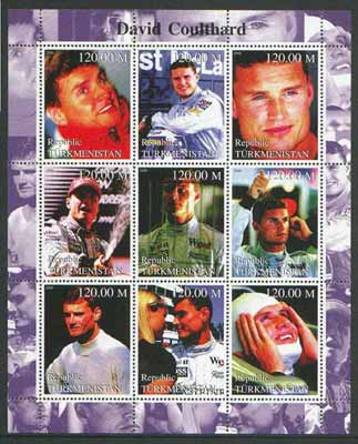 Turkmenistan 2000 Formula 1 (David Coulthard) perf sheetlet containing set of 9 values unmounted mint