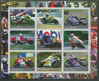 Tadjikistan 2000 Racing Motor Cycles perf sheetlet containing set of 9 values unmounted mint