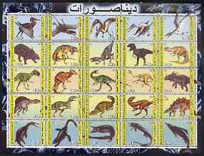 Djibouti 2003 Dinosaurs perf sheetlet containing 25 values unmounted mint