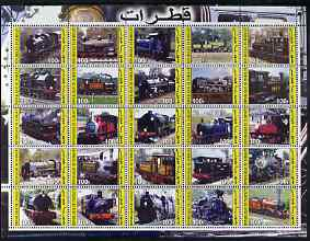 Djibouti 2003 Steam Locos perf sheetlet containing 25 values unmounted mint