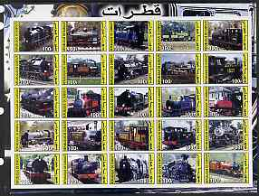 Djibouti 2003 Steam Locos imperf sheetlet containing 25 values unmounted mint