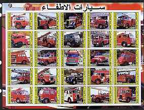 Djibouti 2003 Fire Engines #2 imperf sheetlet containing 25 values unmounted mint