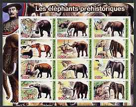 Congo 2004 Prehistoric Elephants imperf sheetlet containing 12 values (with Baden Powell in margin) unmounted mint